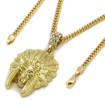14k Gold Native American Indian Chief Skull Pendant For Mens Hip Hop Cha... - $9.99