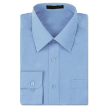 Boys Button Up Junior Kids Toddler Light Blue Solid Long Sleeve Dress Shirt - 18