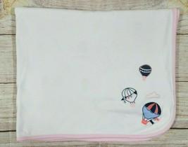 "Gymboree Hot Air Balloon Baby Receiving Blanket White Pink Blue 25.5"" x ... - $27.15"