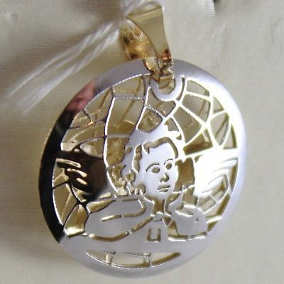 DOUBLE PENDENTIF OR JAUNE ET BLANC 750 18K, ANGE TUTEUR, MADE IN ITALY