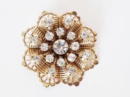 Vintage Rhinestone Goldtone Filigree Flower Brooch Pin - $12.95