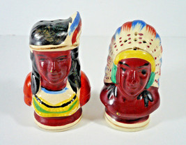 VINTAGE 1950'S NATIVE AMERICAN INDIAN CHIEF SQUAW SALT PEPPER SHAKERS - ... - $9.99