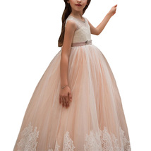 Newly A Line Lace Flower Girl Dresses Appliqued Kids Party Gowns With Belt 2019 image 3