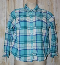 Womens Blue White Plaid St Johns Bay Long Sleeve Shirt Size PXL excellent - $7.91