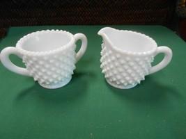 Great Collectible Milk Glass Hobnail Sugar & Creamer - $8.50