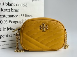 TORY BURCH Kira Chevron Small Camera Crosbody Shoulder Bag Yellow Authentic - $278.00