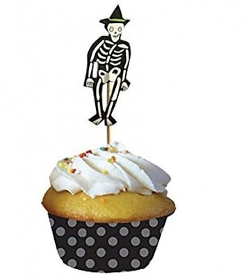 PARTYMASTER Halloween Decorations Bat And Skeleton Food Toothpicks Cupcake