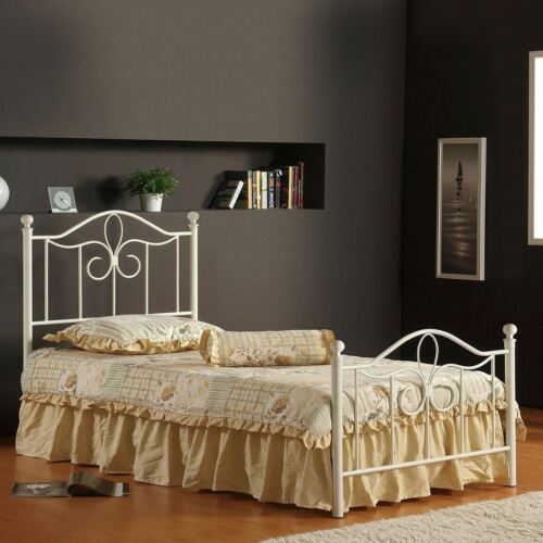 Girls Twin Full Size White Metal Bed Frame Headboard