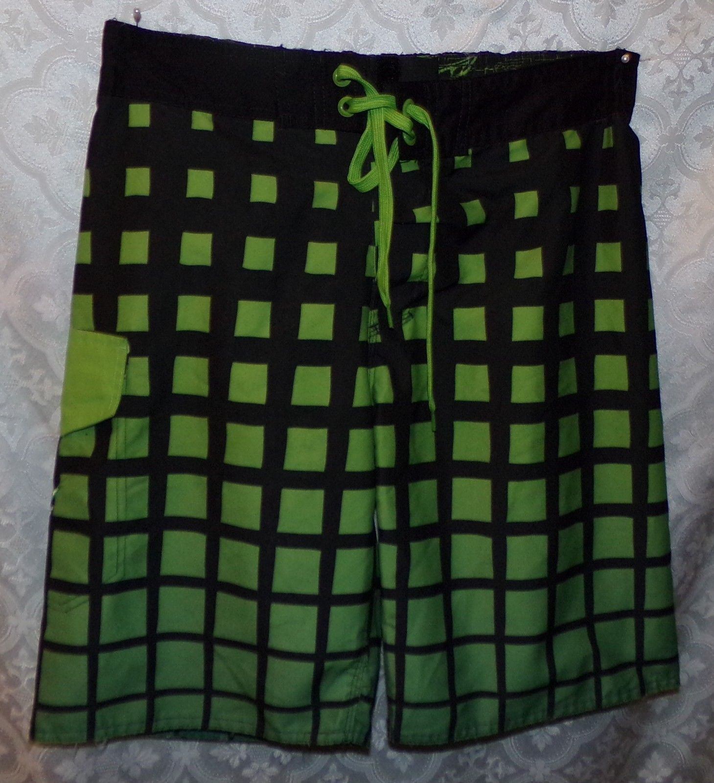 Mountain Dew Swim Trunks Shorts Mens 32 New NWT Green Black
