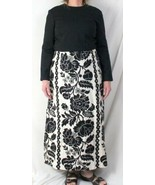 Vtg Rona M L size Black White Long Tapestry Cocktail Party Dance Dress H... - $40.37