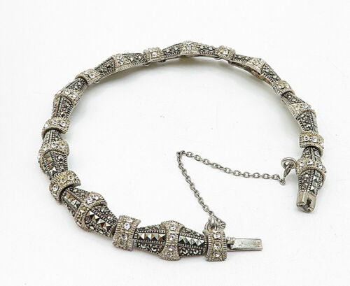 925 Sterling Silver - Vintage Marcasite Topaz Accented Chain Bracelet - B5558