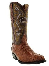 Mens Genuine Cognac Alligator Hornback Leather Western Cowboy Boots J Toe - £175.03 GBP