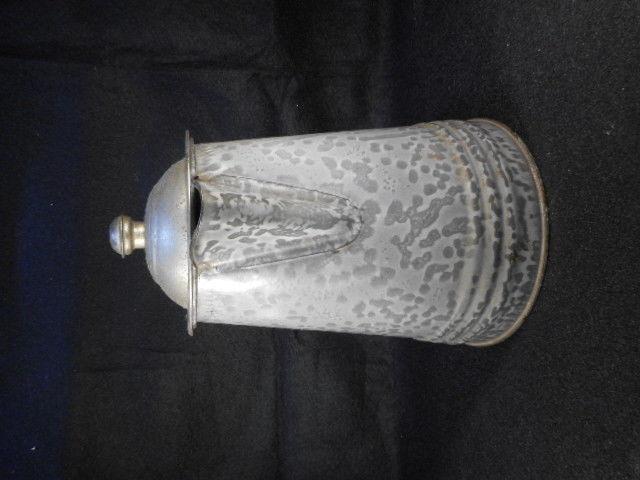 """Vintage Gray Enamelware Graniteware 9"""" Coffee Pot wiith Domed Lid"""