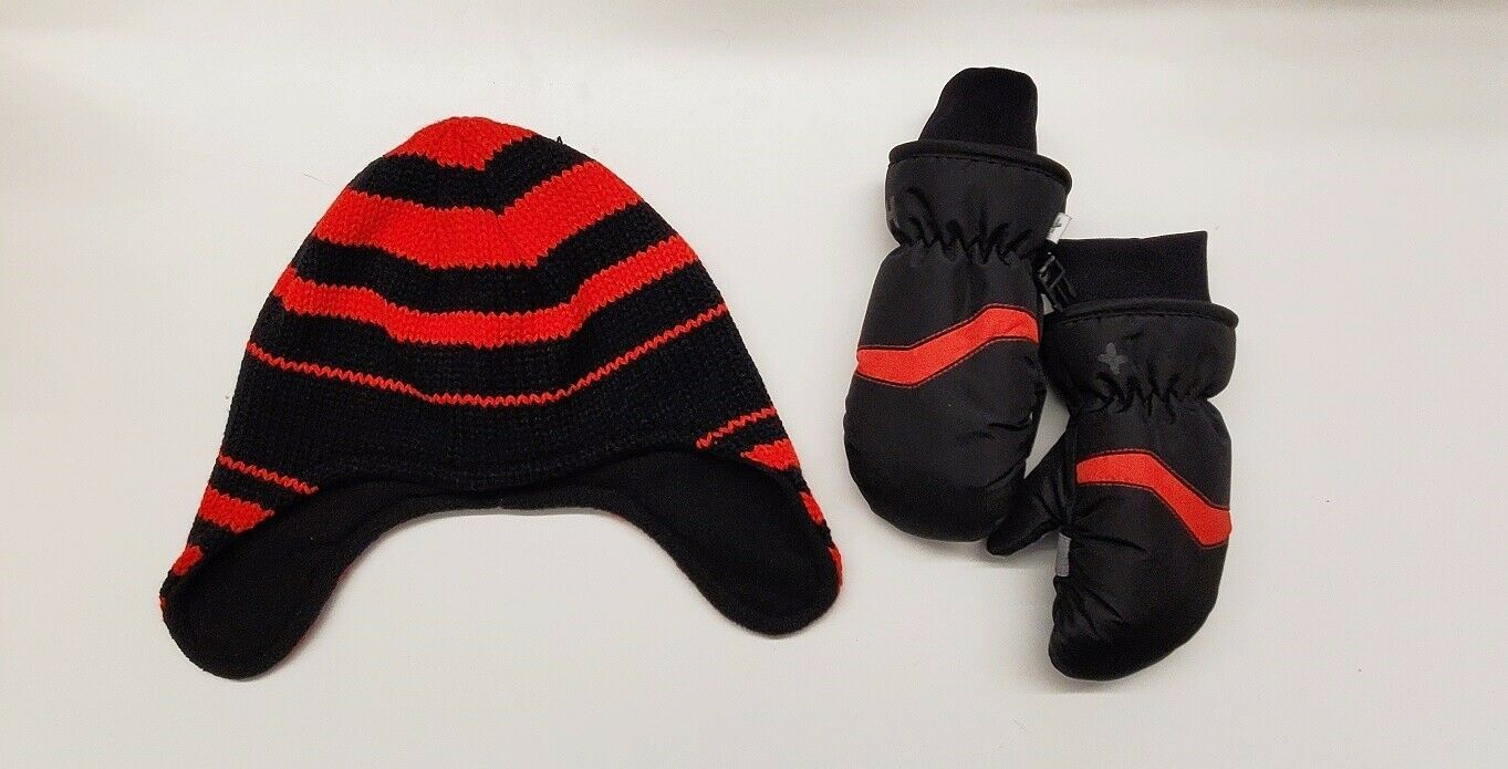 Primary image for Kids Winter Hat & Ski Mittens Hot Paws Brand Cold Weather Gloves Accessory Red