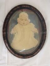 antique adorable BABY PORTRAIT PHOTO enhanced CONCAVE GLASS WOOD FRAME 1... - $89.95