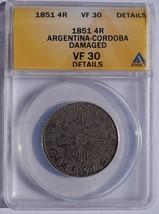 1851 Argentina Cordoba 4 Real World Silver Coin ANACS VF30 Details - $199.99