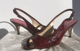 NEW Kate Spade Elana Ruby Red Crocco Patent Leather OpenToe Slingback He... - $167.31