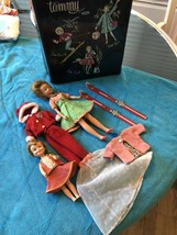 Vintage Ideal 1960's Original Tammy & Pepper? Dolls Labled Clothes & Case Ht F - $99.99