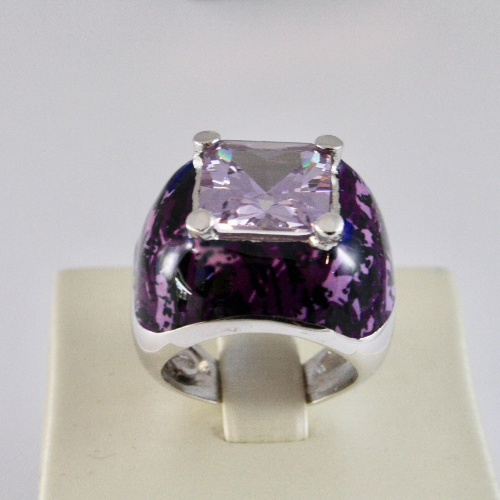925 SILVER RING RHODIUM WITH WITH CRYSTAL PURPLE SQUARE AND ENAMEL