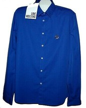 Love Moschino Navy Gold Logo Men's Shirt Size 3XL Fit Small Thin Cotton NEW - $122.25