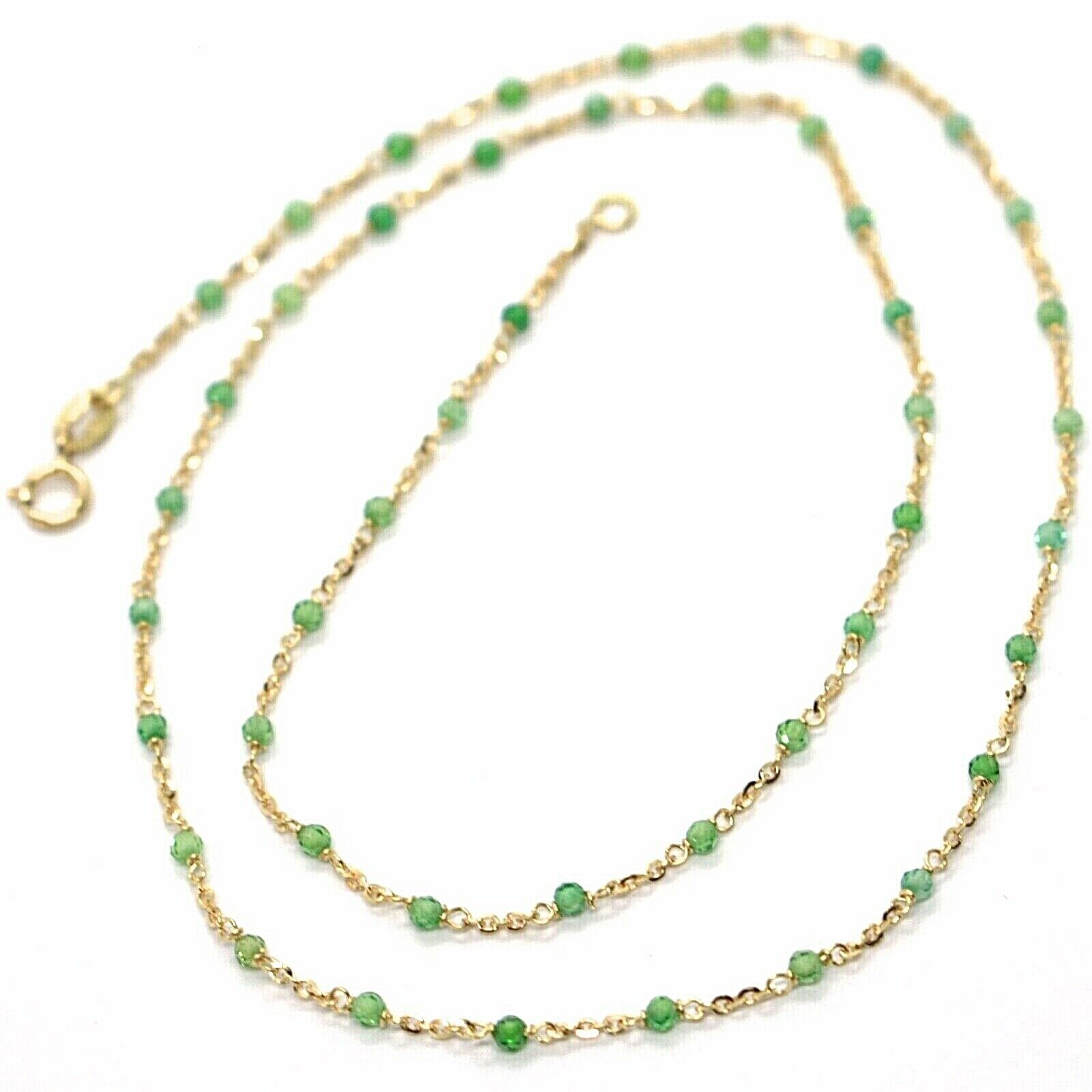 18K YELLOW GOLD NECKLACE, GREEN FACETED CUBIC ZIRCONIA, ROLO CHAIN, 17.7 INCHES