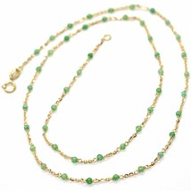 18K YELLOW GOLD NECKLACE, GREEN FACETED CUBIC ZIRCONIA, ROLO CHAIN, 17.7 INCHES image 1