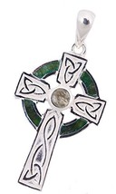 """Celtic Cross Necklace For Women In Silver with Connemara Marble on 18"""" c... - $85.03"""