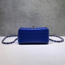 NEW AUTHENTIC CHANEL BLUE CHEVRON QUILTED CAVIAR SQUARE MINI CLASSIC FLAP BAG  image 5