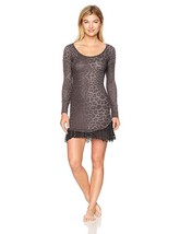 Betsey Johnson Women's Waffle Knit and Lace Sleepshirt Spot on Grey Leop... - $15.95