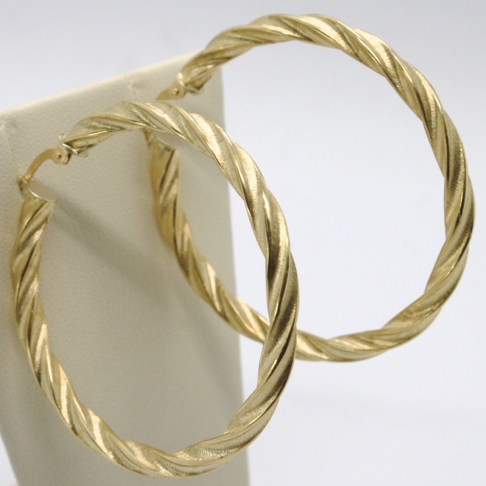 18K YELLOW GOLD CIRCLE HOOPS TUBE TWISTED SATIN BIG EARRINGS 50 MM MADE IN ITALY