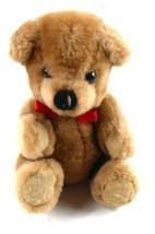 Dakin Christopher Brown Vintage 1981 Plush Stuffed Teddy Bear with Red R... - $6.78