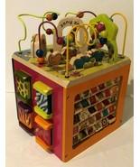 Battat B You Wooden Activity Cube Zany Zoo Bead Maze Animals Alphabet  - $37.99