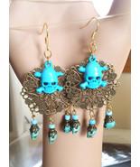 blue skull chandelier earrings turquoise sugar skull beads bronze dangle... - $5.99