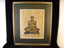 Framed Painting Seated Egyptian scribe painted replica signed Tatam