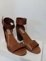 Steve Madden Women's Castro Heeled Cognac Leather Sandal Size 7.5 - $98.34