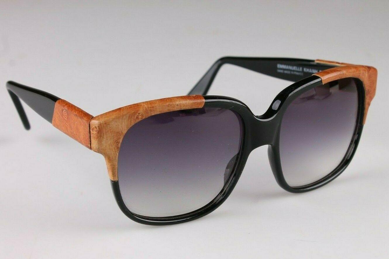 Vintage Mujer Negro Emmanuelle Khahn Avestruz Cuero 8080 16 OS Gafas de Sol