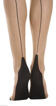 Sock Snob Retro Back Seam Designer Tights Size 8-14 uk, 36-42 eur Nude/B... - $7.89