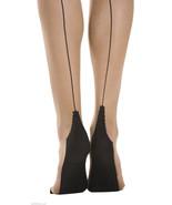 Sock Snob Retro Back Seam Designer Tights Size 8-14 uk, 36-42 eur Nude/B... - $7.89