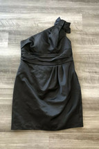 David's Bridal Black One-Shoulder Dress Sz 16 Bridesmaid Style 84333 Satin - $43.06
