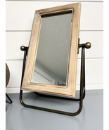 Table Mirror Brown & Metal Freestanding Square Mirror Shabby Chic Decor - $79.99