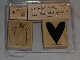Stampin' Up Good Things Set of 4 stamps Heart saying Wonderful Caring Flowers - $14.89