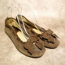 American Eagle Womens 3501-200 Sz 9 Brown Leather Slip On Ballet Flats Ribbon - $24.99