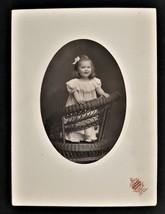 antique PHOTOGRAPH ayer ma ELEANOR LONGLEY pretty child girl wicker chair - $68.95