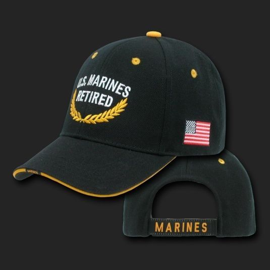 Primary image for MARINE CORPS RETIRED FLAG EMBROIDERED BLACK HAT CAP