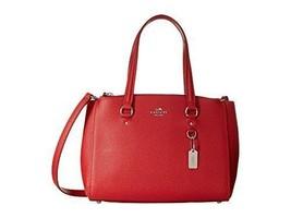 Coach Womens Stanton Leather Textured Satchel Handbag Red Medium - £180.65 GBP