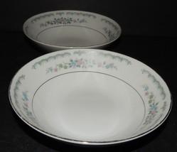 "2 Rose China 6.25"" Dessert Soup Bowls Rose Villa Pattern 3912 Japan Silv... - $24.74"