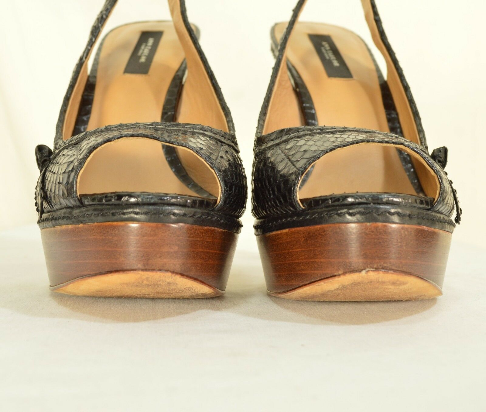 Ann Taylor shoes heels 9M platform black leather snakeskin high chic career image 8