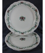 Pfaltzgraff Red Ribbons Dinner Plates Lot of 3 Christmas Holiday Stoneware - $51.97