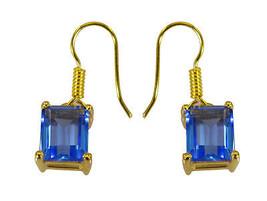 Blue Gold Plated Glass pulchritudinous Blue Shappire CZ exporter Earring UK gif - $10.53