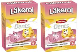 Läkerol Dents Pear Banana & Strawberry Swedish Xylitol Candies 85g * 2 pack 6 oz - $16.83